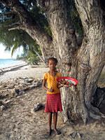 Petrine and her bokoboko at the filao foot -