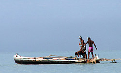 vezo fishermen in lagoon